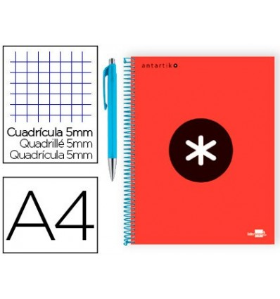 SPIRAL NOTEBOOK LEADERPAPER A4 MICRO ANTARTIK LINED TOP 120 H 100G TABLE 5 MM RED COLOR PROMO CARAN D ACHE