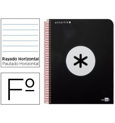 SPIRAL NOTEBOOK LEADERPAPER FOLIO ANTARTIK HARDCOVER 80H 100 GR HORIZONTAL WITH MARGENCOLOR BLACK