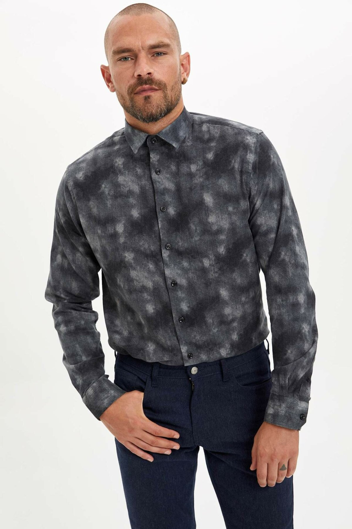 DeFacto Man Winter Dark Color Top Shirts Men Smart Casual Prints Shirt Male Long Sleeve Shirt-M2865AZ19WN