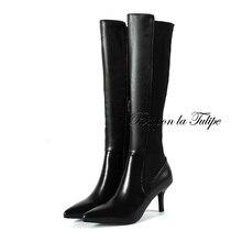 BHS 9011200 Stylish Genuine Cow Leather Patchwork Zipper 7CM Thin Heel Elegant Leather/Plush Lining Chic Women Fashion Boots