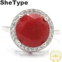 14x14mm Classic 4.2g Round Shape Real Red Ruby CZ Gift For Mother 925 Solid Sterling Silver Rings