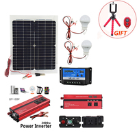 12V 20W Solar Panel with 2000W Inverter 12V to 220V 10A Charger Controller and 2pcs Led Lamp Monocrystalline Solar Cell Battery