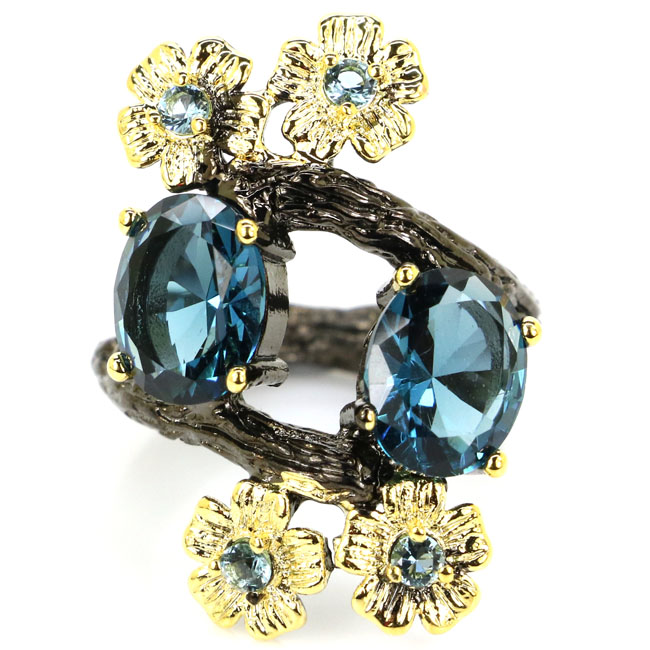 30x20mm Sublime Antique SheCrown vytvořeno tmavě London Blue Topaz Black Gold Silver Rings