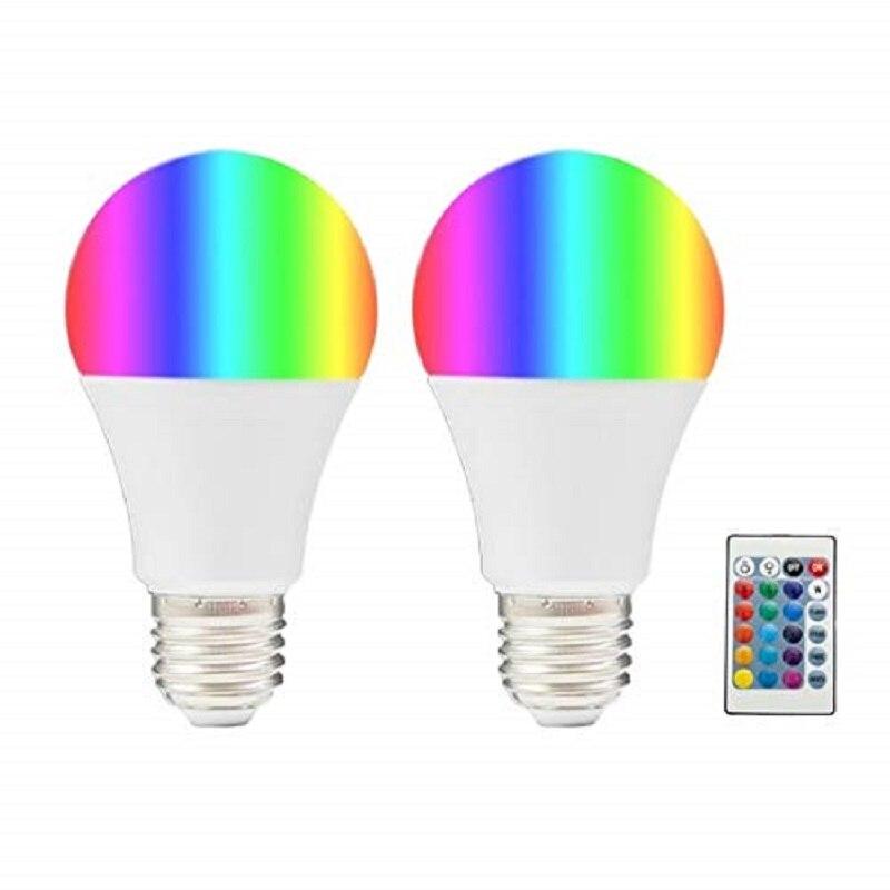 BOMBILLA DE LED MULTICOLOR RGB CON MANDO 220V E27 (pack 2)