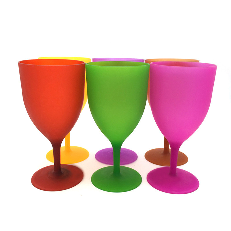 6Pcs Set Colorful Plastic Goblet Wine Glass Cup Cocktail Champagne Standing Cups PP Plastic High Quality Wine Glasses Drinkware in Tumblers from Home Garden