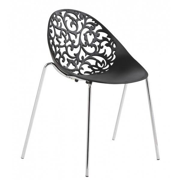 Chair GIN Chrome Black Polypropylene