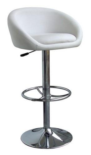 Stool DRUM (L), Chrome, Upholstered White.