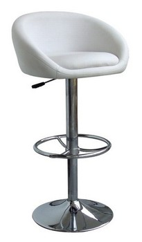 Stool DRUM (L), Chrome, upholstered white.