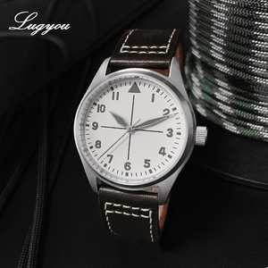 Image 2 - Lugyou San Martin Pilot Men Watch Automatic Stainless Steel 20ATM Leather Strap 39mm Sapphire Waterproof White Face Super Lum