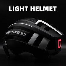 Casco bicicleta PROMEND, luz LED, recargable e integrado, moldeado, casco de ciclismo, casco mtb de carretera de montaña, sombrero deportivo seguro para hombre
