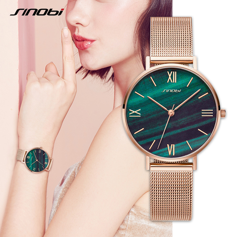 SINOBI Fashion Women's Diamond Wrist Watches Gold Watchband Top Luxury Brand Girl Crystal Quartz Clock Ladies Watch Dropshipping