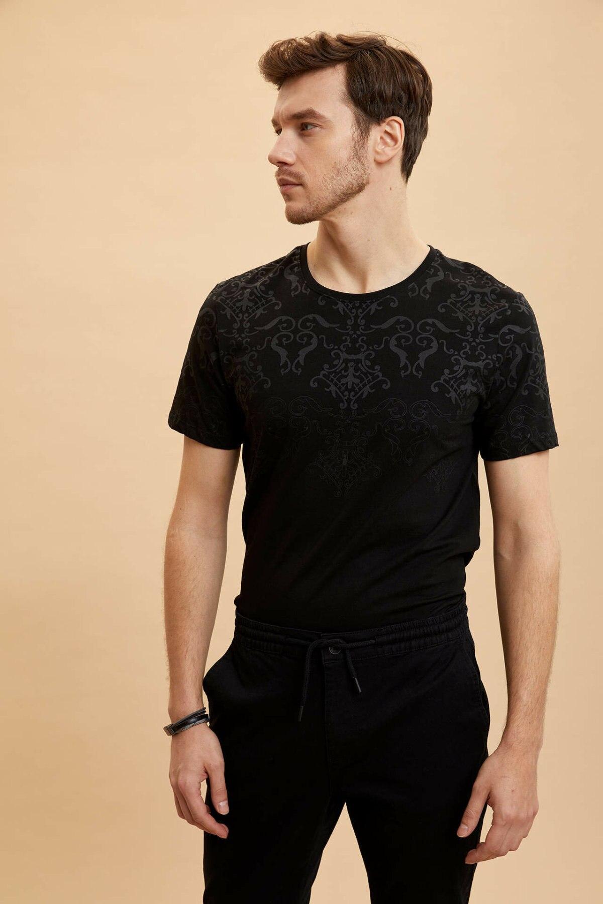 DeFacto Man Summer Black Top Tees Men Casual Short Sleeve T-Shirts Male O-neck T-Shirt-M2798AZ19HS