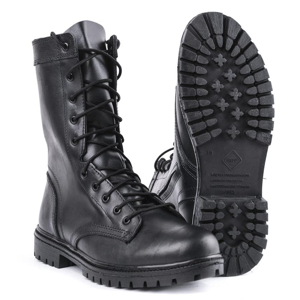 Demiseason exército tornozelo botas de couro preto laços e zíper caminhadas esporte homem sapatos 0051/11 wa