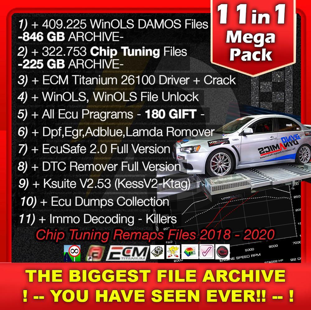 225gb chip tuning arquivos + 846gb damos + remap banco de dados + winols desbloquear + dpf egr lambda removedor + 150 todos os programas ecu gİft chip tuning