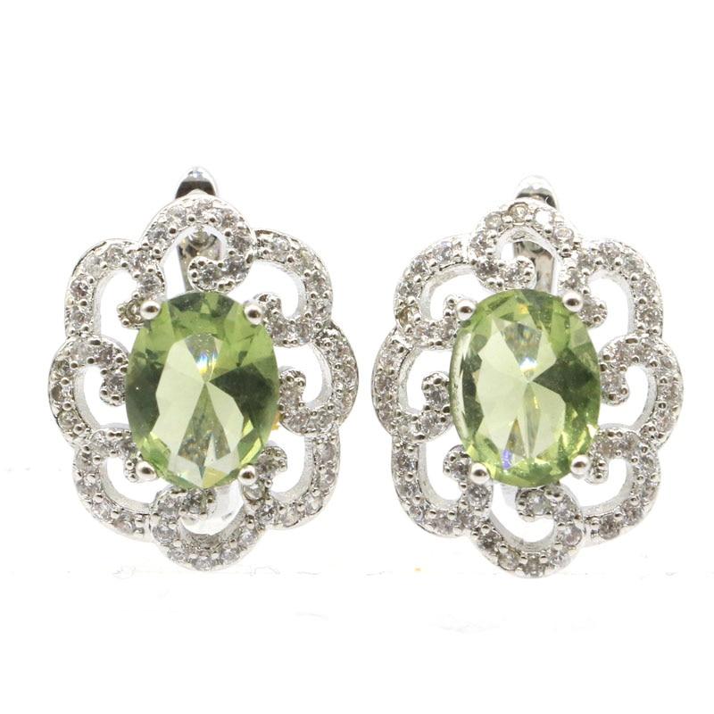 18x13mm Phantasie Erstellt Green Amethyst Weiß CZ Geschenk Für Mädchen Silber Ohr Stud Ohrringe