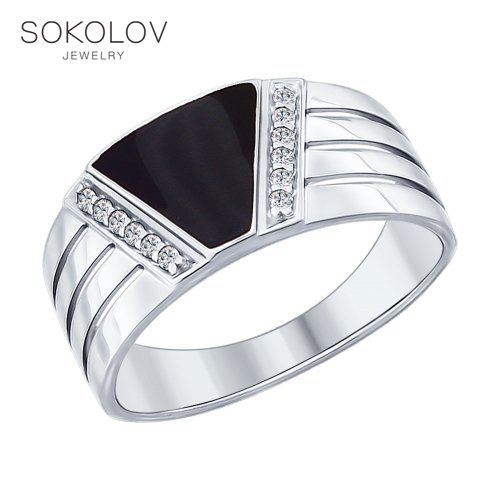 Ring. Sterling Silver With Enamel And Cubic Zirconia Fashion Jewelry 925 Women's Female Women's Female Men's Male