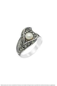 Pearl Sterling Silver Marcasite Ladies Ring