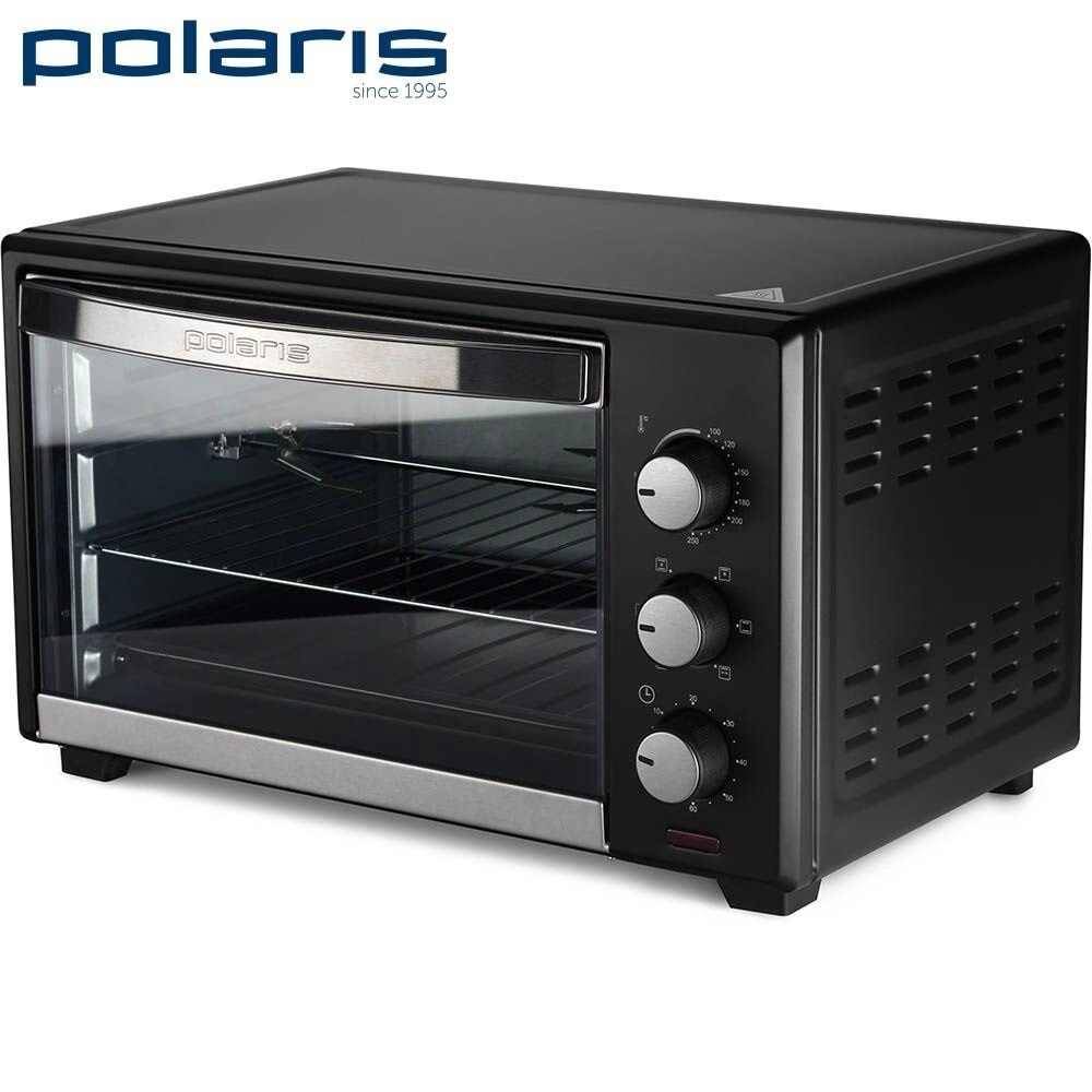 Mini Oven Polaris PTO 0432GLC Black Brass cabinet Electric Oven Mini Oven Household appliances for kitchen Microwave oven Kitchen aroma 8 quart roaster oven