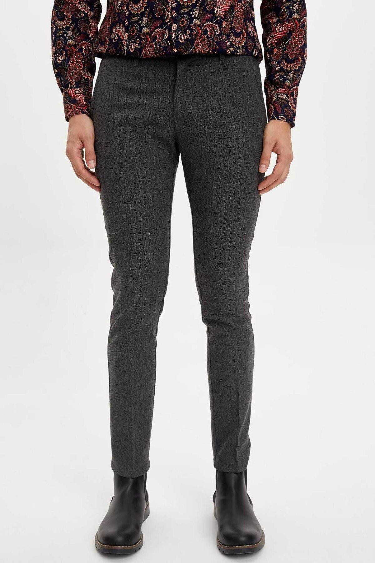 DeFacto Man Winter Casual Long Pants Men Dark Grey Slim Bottoms Male Mid-waist Trousers-M2348AZ19WN