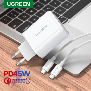 цена на UGREEN USB PD Charger 45W Quick Charge 4.0 3.0 Fast Charger for iPhone 11 8 Xs iPad USB C Charger for Notebook Redmi Note 7