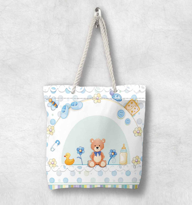 Başka bir mavi bebek çizmeleri kahverengi ayılar ördekler yeni moda beyaz halat kolu kanvas çanta karikatür baskı fermuarlı Tote çanta omuzdan askili çanta