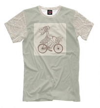 Males's T-shirt bike lady