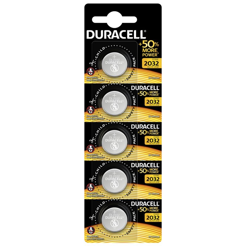 BUTTON BATTERY CR2032 3V LITHIUM DURACELL 5 PZ