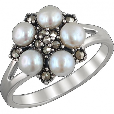 Esthete Ring With Pearls And Marcasite In Black Silver