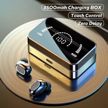 TWS Wireless Bluetooth Headphones HD Mirror Screen LED Display Earphones with 3500mAh Charging Box 9D HIFI Stereo Earbud Headset 1