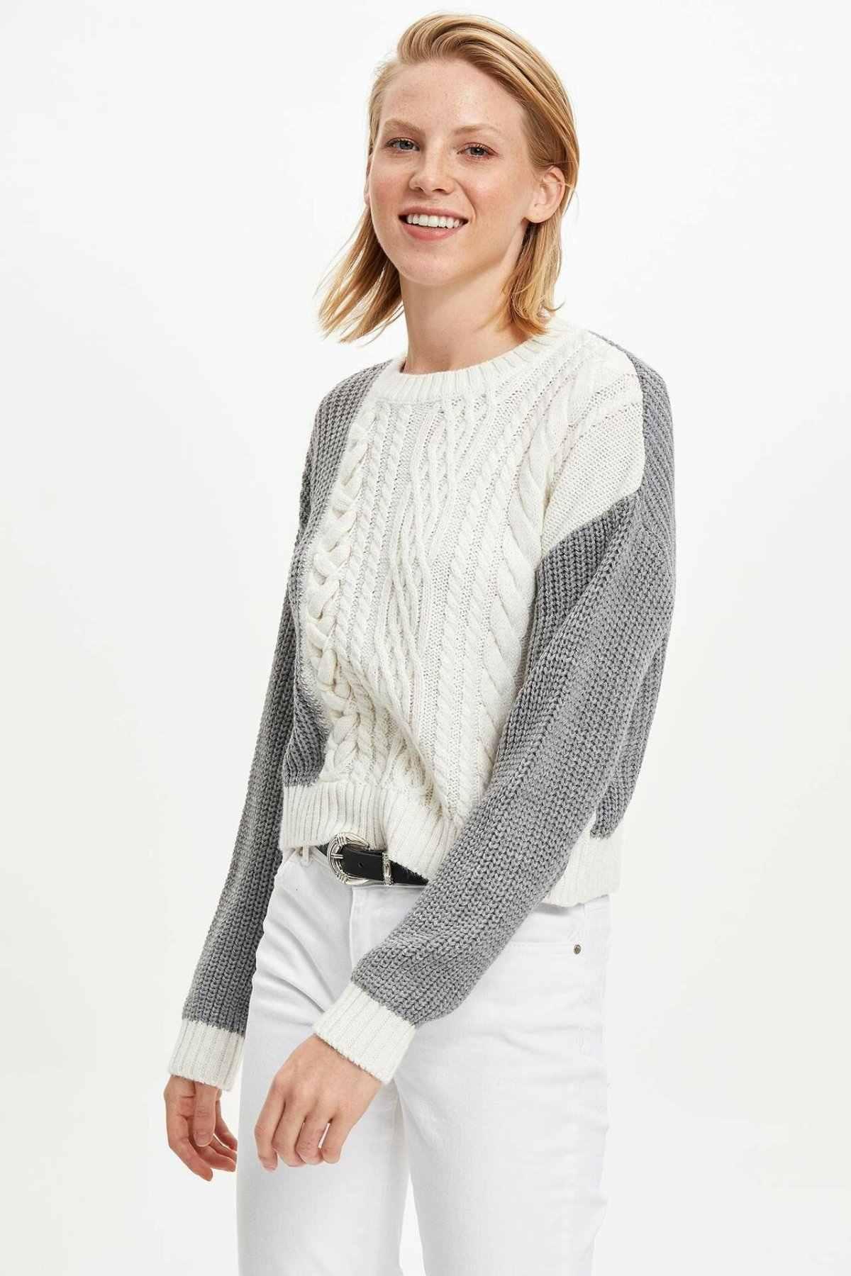 Defacto Chic Blok Warna Wanita Sweater Kasual Putih Abu-abu Campuran Wanita Pullover Musim Dingin Tebal Top Pullovers-M2763AZ19WN
