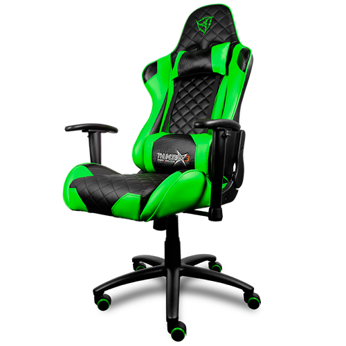 Chair Gamer Pro Thunderx3 Tgc12bg Color Black/Green Up Seat Recliner Rests Adjustable Arms Piel Finish Base Hid
