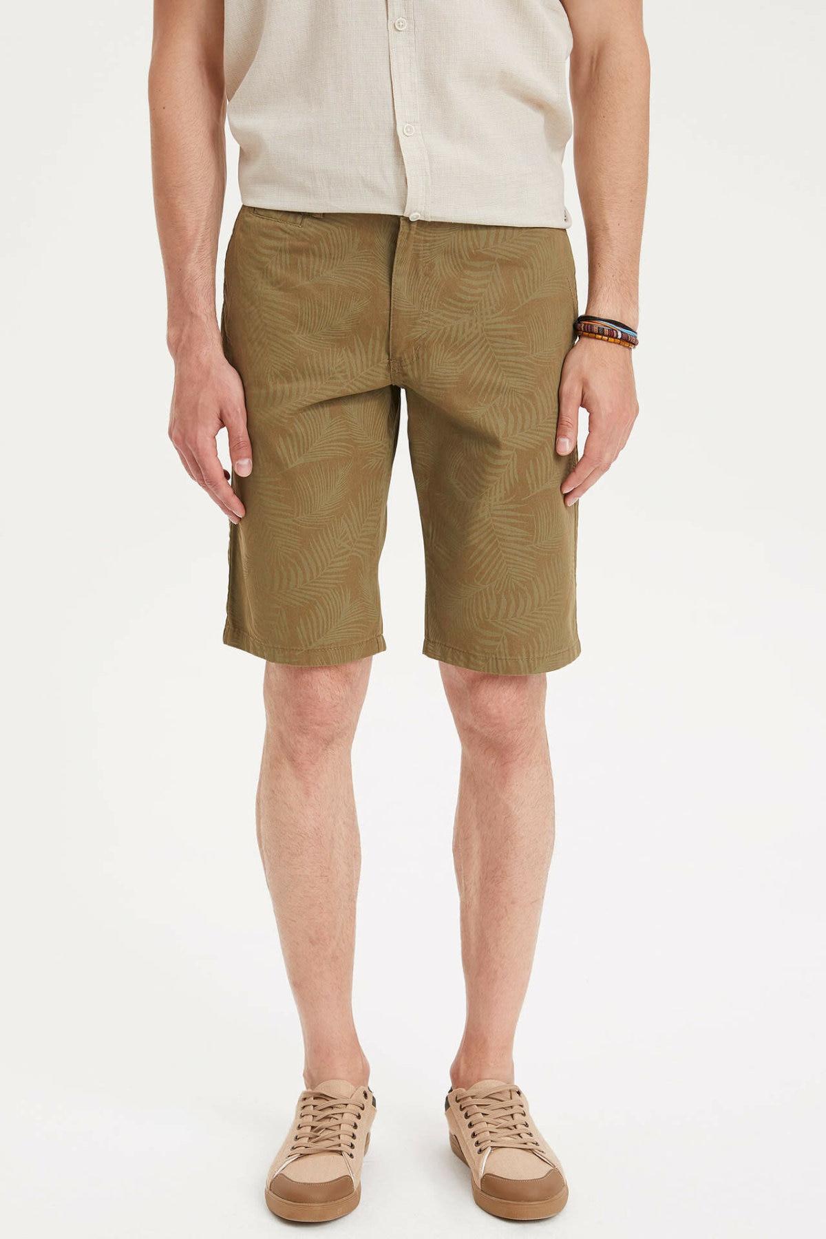 DeFacto Man Summer Army Green Casual Shorts Men Mid-waist Bottom Shorts Male Fit Slim Short-K4203AZ19SM