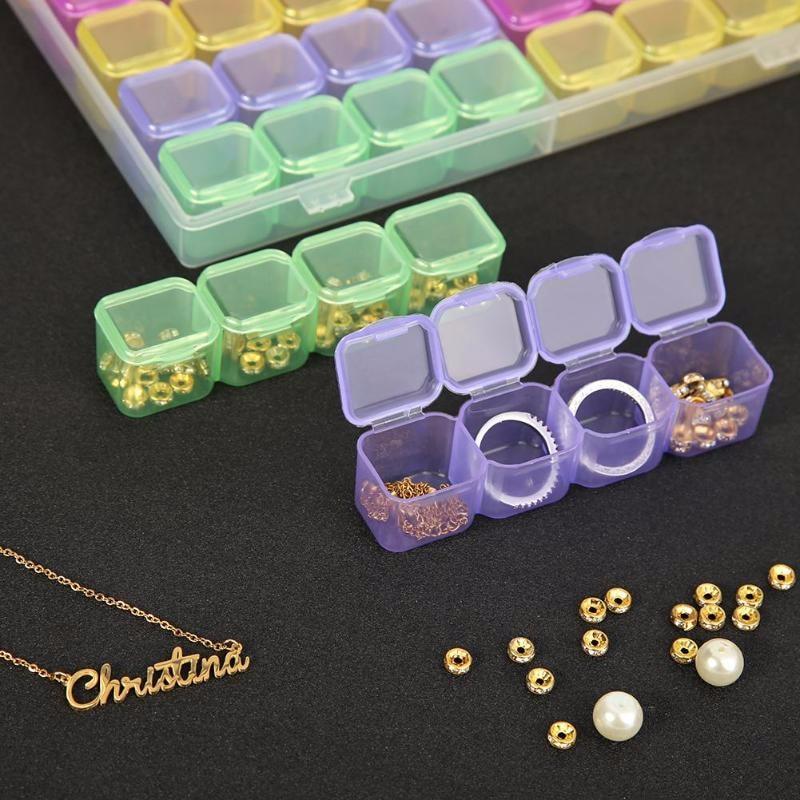 28//56 Grids 5d  Diamond Painting Drill Box Jewelry Rhinestone Embroidery Crystal