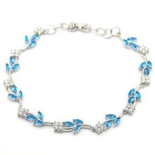 20x8mm SheCrown Created 15g Paris Blue Topaz White CZ Woman's Wedding Silver Bracelet