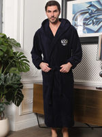 Terry bathrobe men's blue hooded protector Mercury home Cotton, 52 54 size