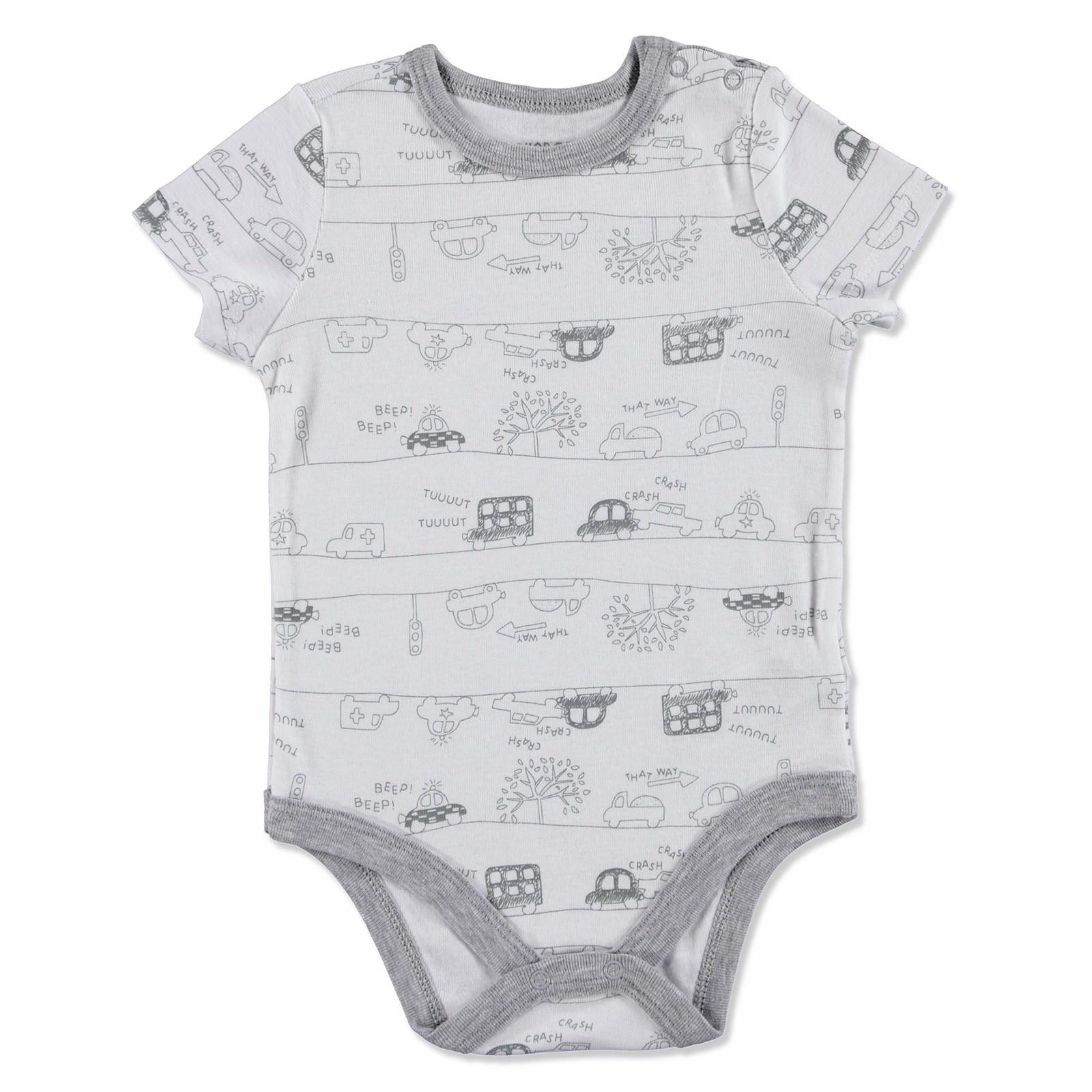 Ebebek HelloBaby Baby Printed Short Sleeve Bodysuit