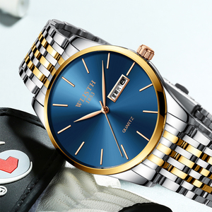 WLISTH Men's Ultra-Thin Business Quartz Watch Steel Simple Scale Calendar Dial Luminous Waterproof Watches Relogio Masculino