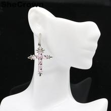 48x27mm 2019 Classic Cross Created Pink Kunzite CZ Gift For Woman's Silver Earrings
