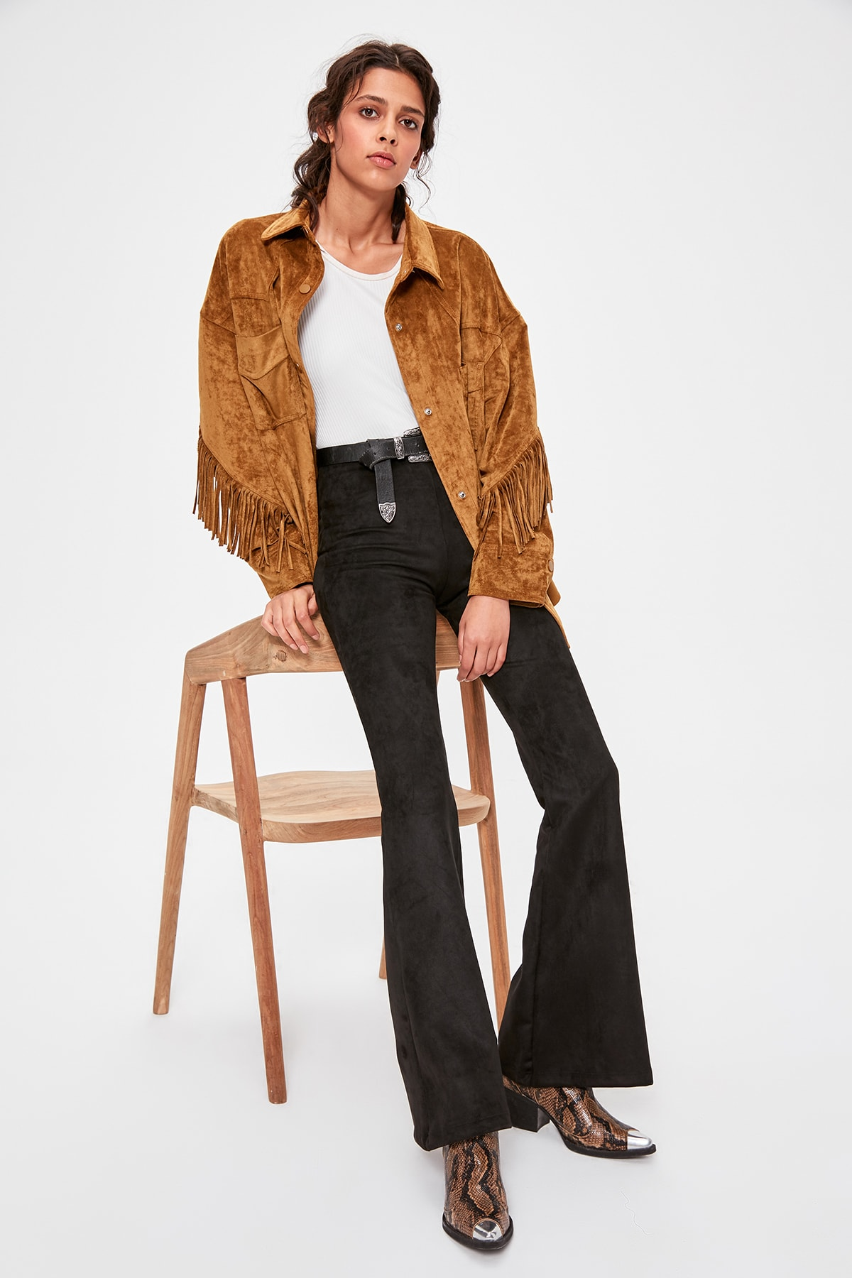 Trendyol Black Suede Spanish Bell-Bottomed Pants TWOAW20PL0304