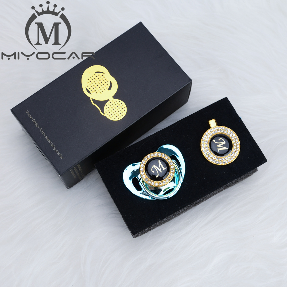 Image 3 - MIYOCAR Gold silver name Initials letter M beautiful bling pacifier and pacifier clip BPA free dummy bling unique design LMPacifier   -