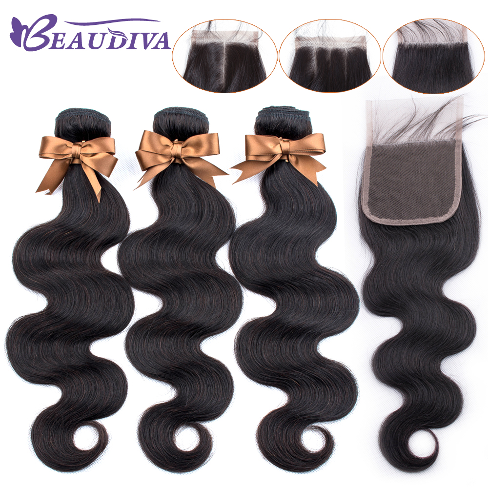 BEAUDIVA Brazilian Hair Body Wave 3 Bundles With Closure Human Hair Bundles With Closure Lace Closure Remy Human Hair Extension-in 3/4 Bundles with Closure from Hair Extensions & Wigs