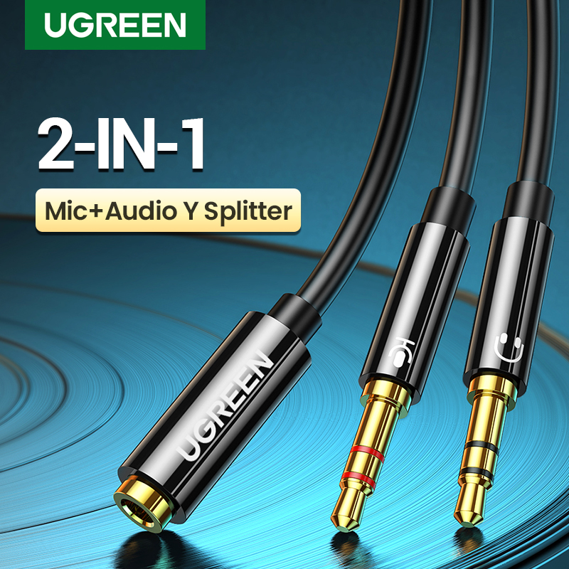 Ugreen Splitter Headphone for Computer 3.5mm Female to 2 Male 3.5mm Mic Audio Y Splitter Cable Headset to PC Adapter
