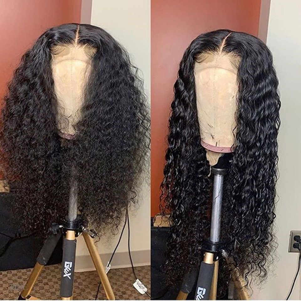 Brazilian Curly Full Lace Wigs Deep Culrly Full Lace Human Hair Wig With Baby Hair Glueless Full Lace Frontal Wig Bleached Knots
