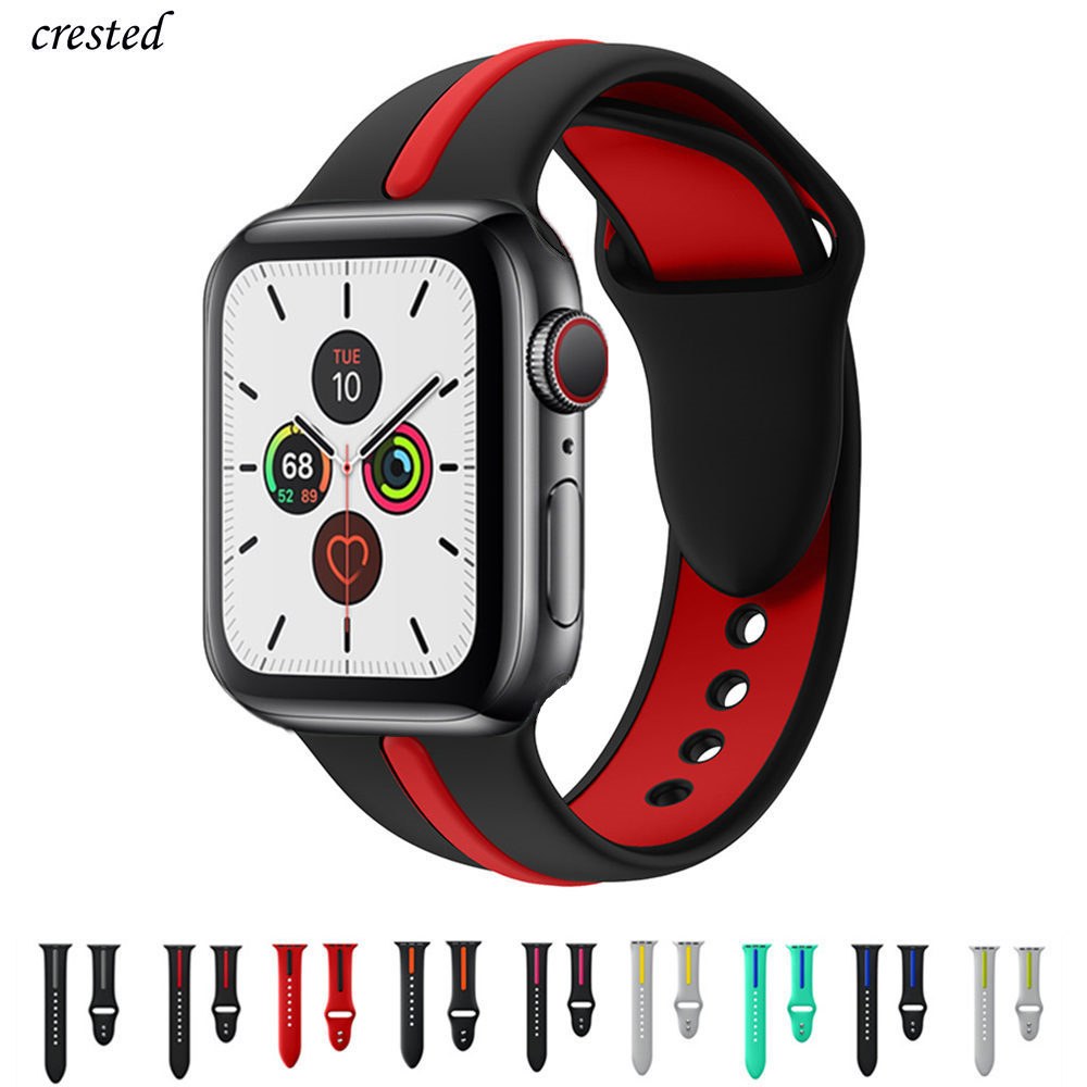 Silicone Strap For Apple Watch 5 Band 44mm 40mm IWatch Band 38mm 42mm Dual-color Stripe Watchband Bracelet Apple Watch 4 3 2 1