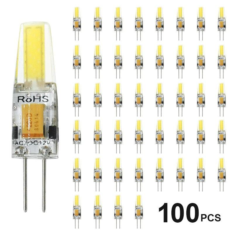 100 pçs/lote Mini G4 Lâmpada LED Regulável AC/DC 12V G4 6W LEVOU COB Lâmpada Halógena Substituir holofotes Lustre Luzes LED