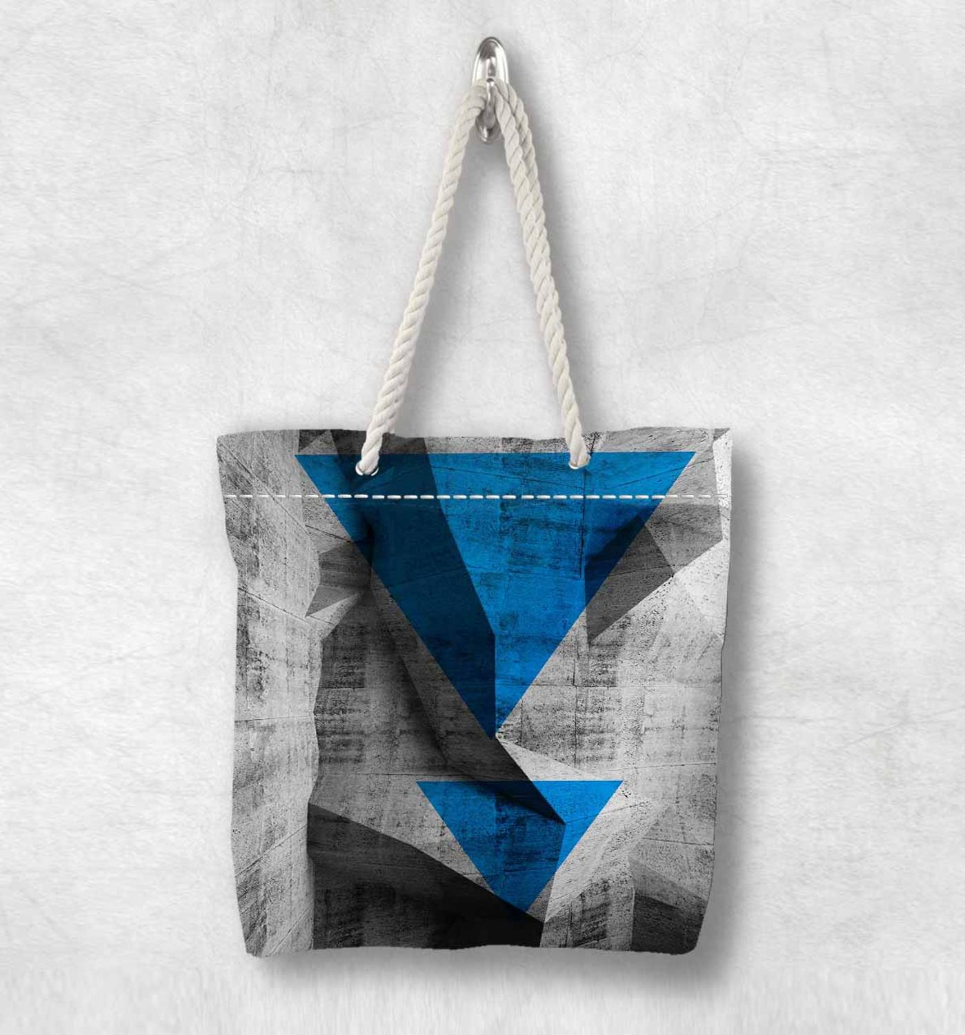 Else Gray Black Blue Triangles Geometric New Fashion White Rope Handle Canvas Bag Cotton Canvas Zippered Tote Bag Shoulder Bag