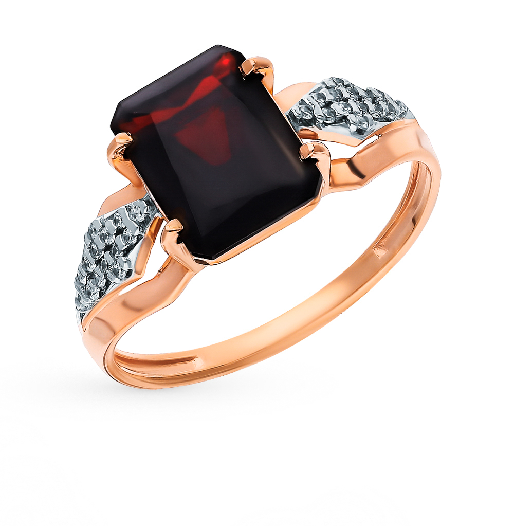 Gold Ring With Cubic Zirconia And Garnet SUNLIGHT Test 585