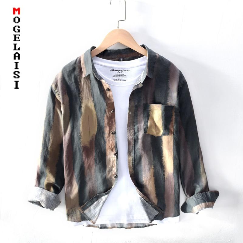 Fashion print men shirt quality clothing linen cotton Breathable soft man tops long sleeve pocket shirts camisas TB626