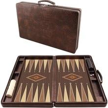 Luxury Leather Bag Backgammon Set Big size Checkers Backgammon board game 2 dice log board games brain teaser games amusement