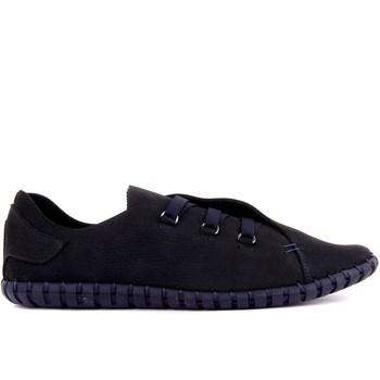 Sail Lakers-granatowe męskie buty nubukowe tanie i dobre opinie Prawdziwej skóry Gumowe Slip-on